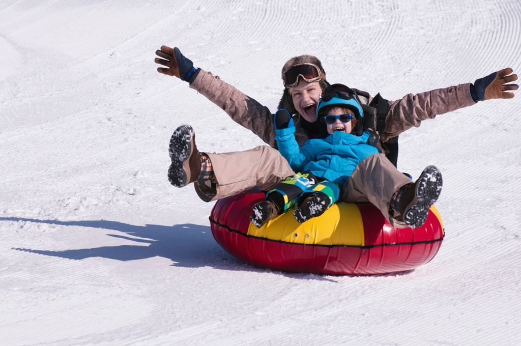 Kids on Snow Tube